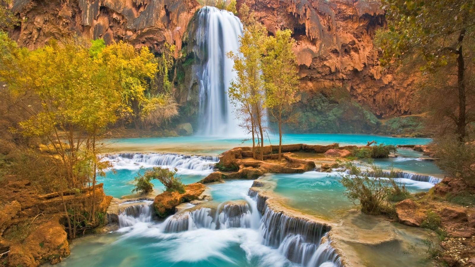 Canyon Oasis Havasu Falls Arizona   HD Wallpaper 1600x900 1600x900