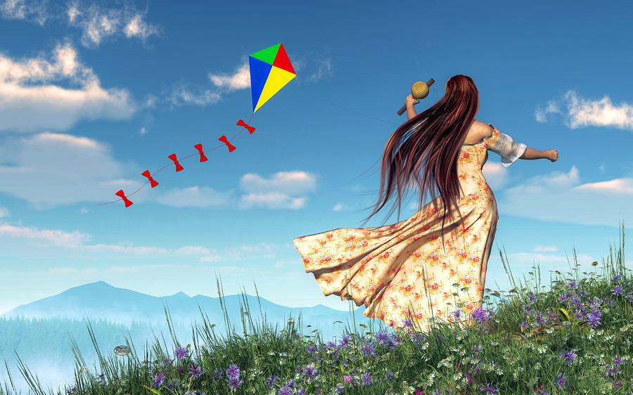 Flying A Kite Digital Art by Daniel Eskridge 900x562