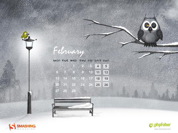 february 2012 hungry owl calendar February 2012 Calendar Wallpapers 600x450