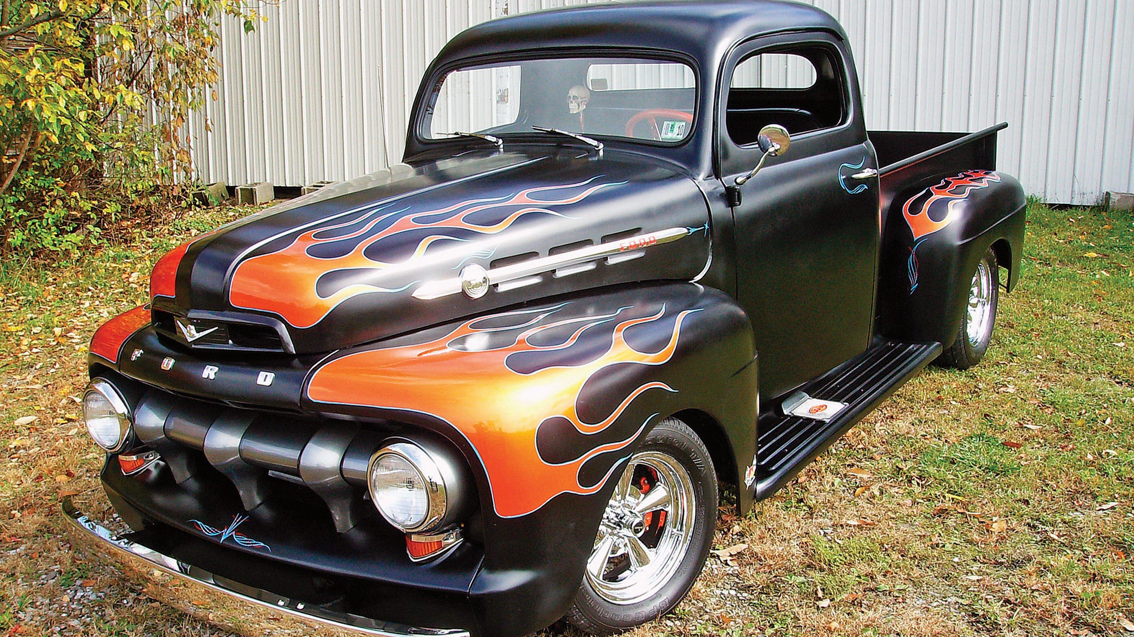 flames Hot Rod Ford trucks Classic vehicles wallpaper background 3840x2160