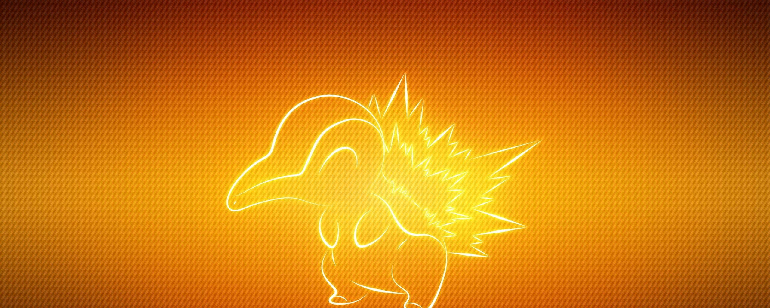 Pokemon Animal Cyndaquil Wallpaper Background Dual Monitor 2560x1024