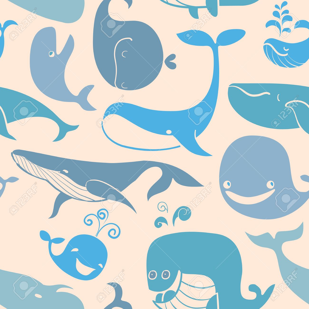 Cute Doodle Blue Whales Marine Seamless Background Seamless 1300x1300