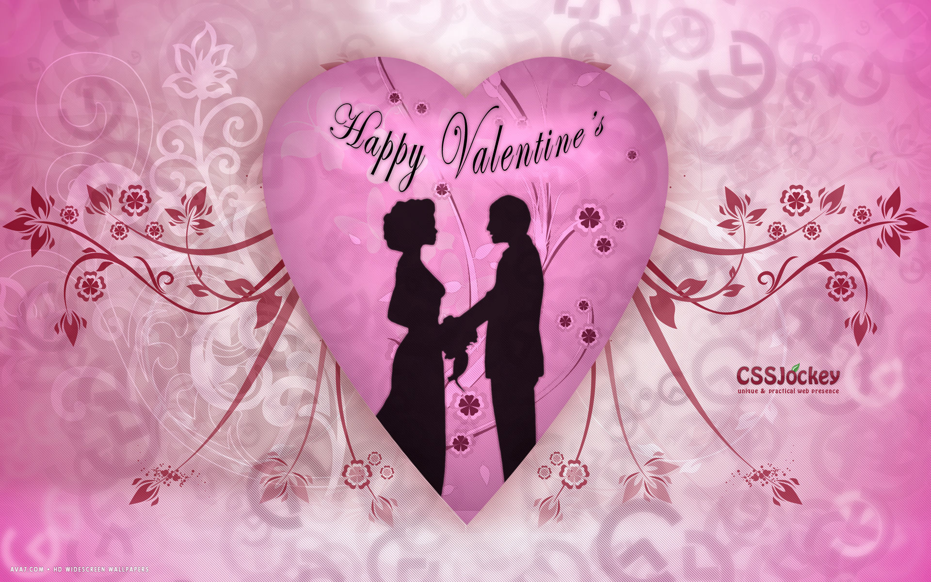 Love hearts vector romantic Valentine day wallpaper 1920x1200