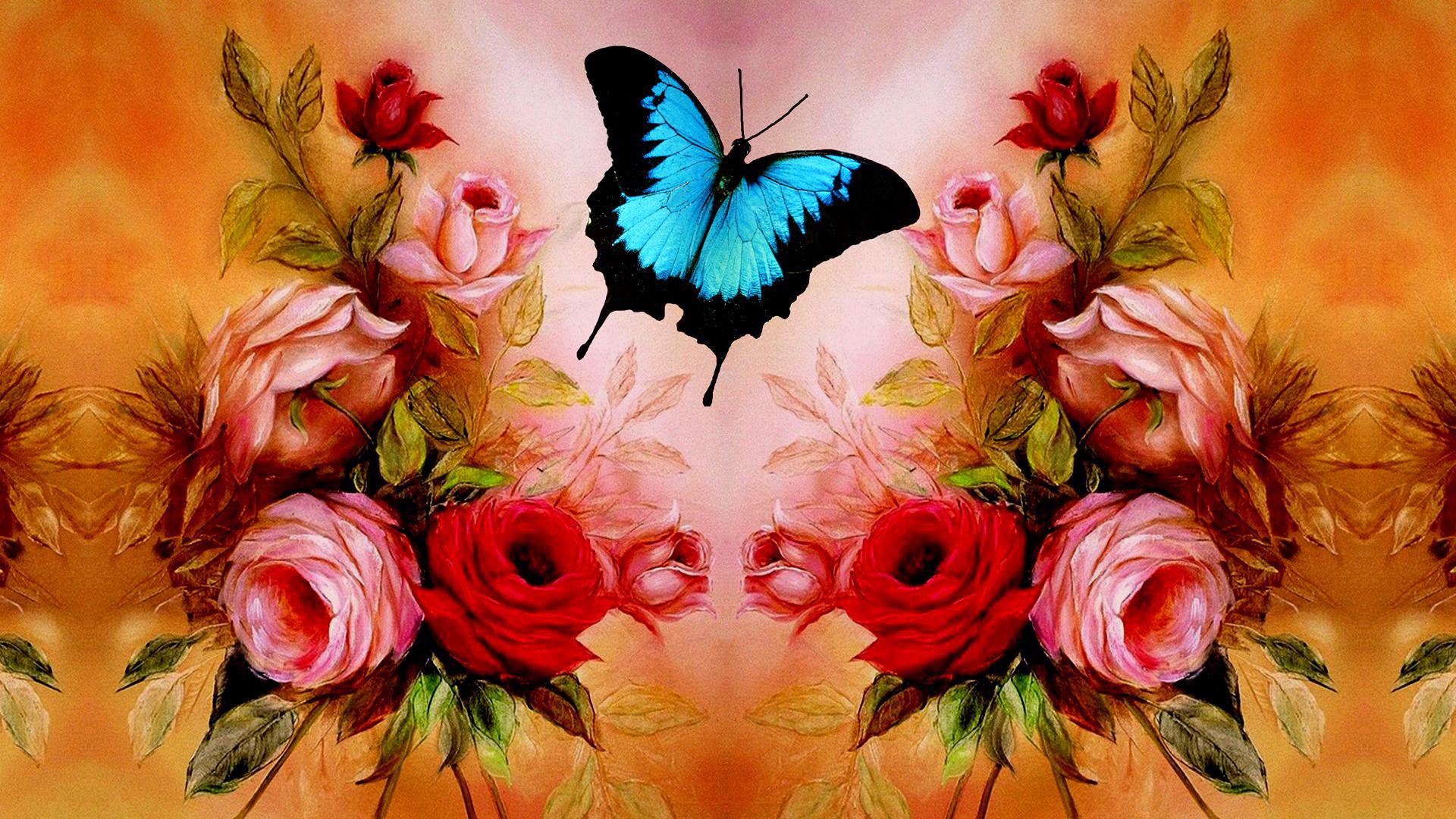 butterfly wallpaper red rose   HD Desktop Wallpapers 4k HD 1920x1080