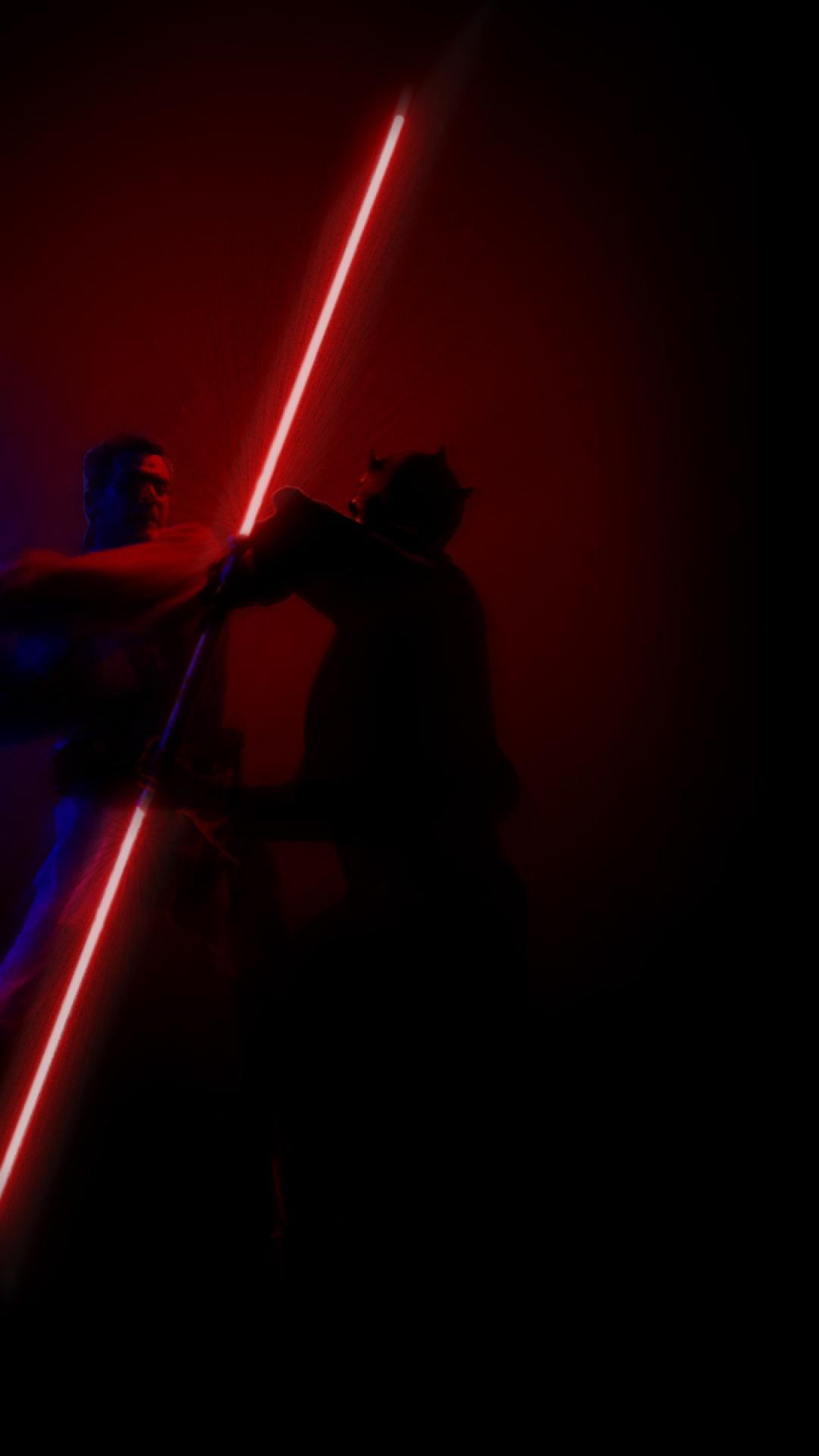 star wars fight darth maul lightsabers obi wan kenobi HD Wallpaper of 1080x1920