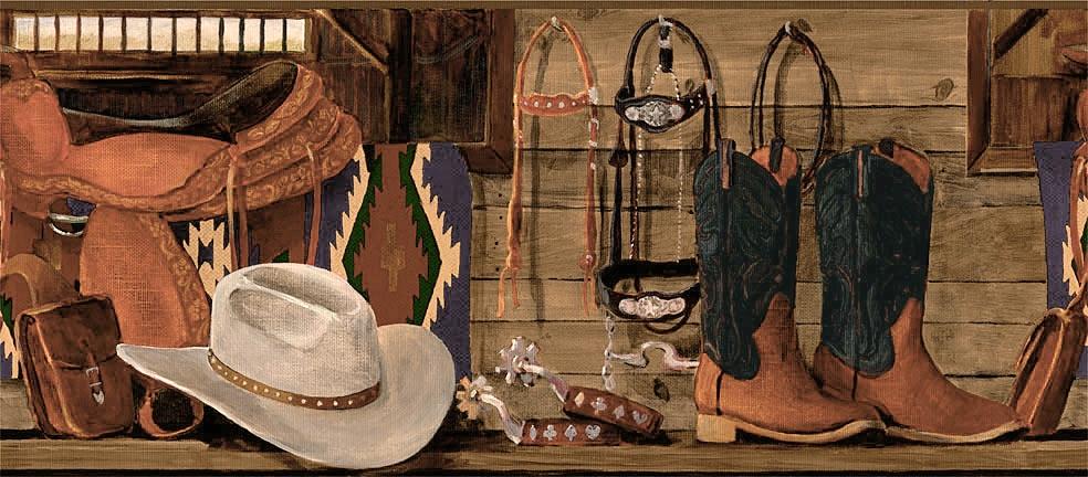 Ranch Western Wallpaper Border HJ6709BD Cowboy Boot Horse Shelf