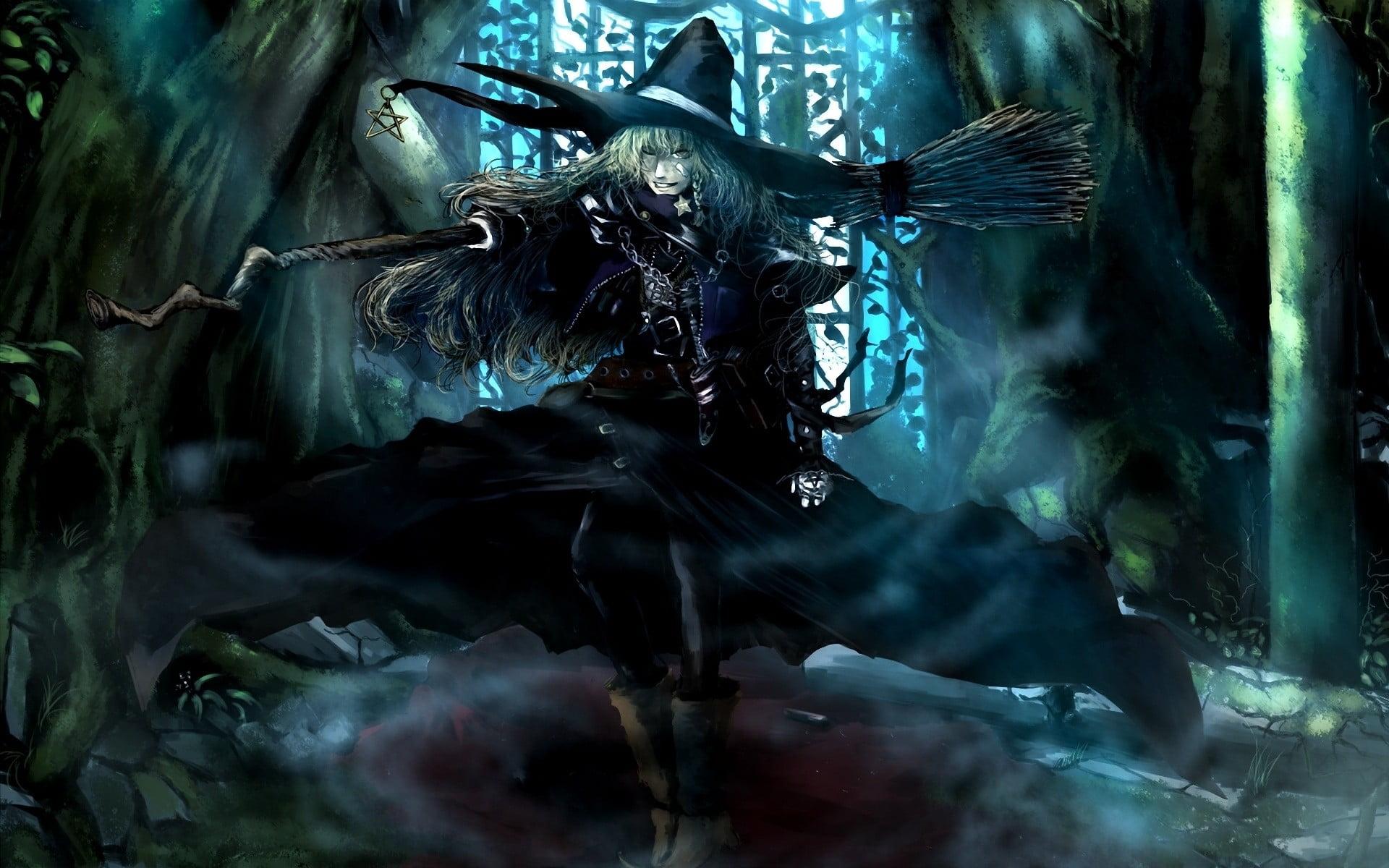 Female witch illustration Touhou Kirisame Marisa HD wallpaper 1920x1200