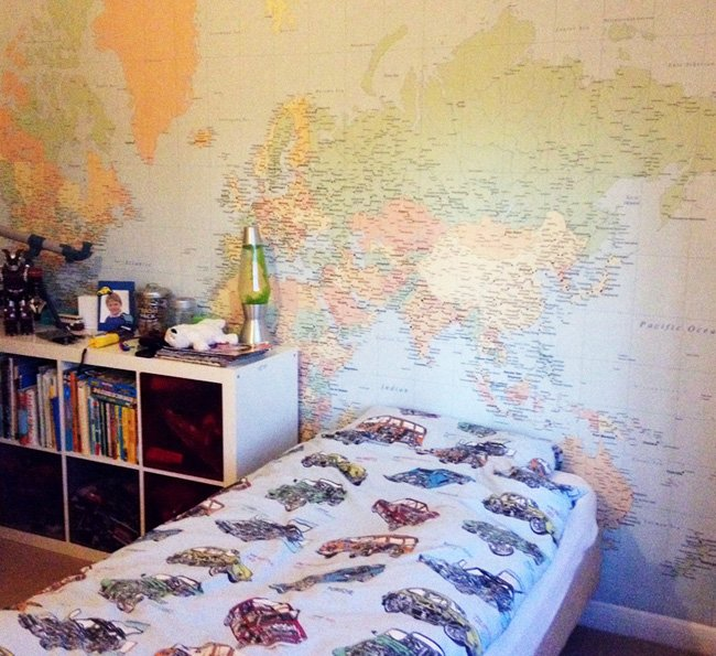 in your kids room by adding this cool world map wallpaper design 650x595