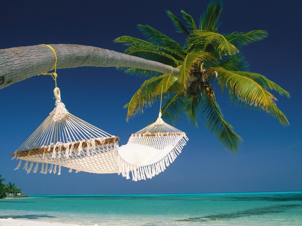 White hammock in the maldives wallpaper Wallpaper Wide HD 1024x768