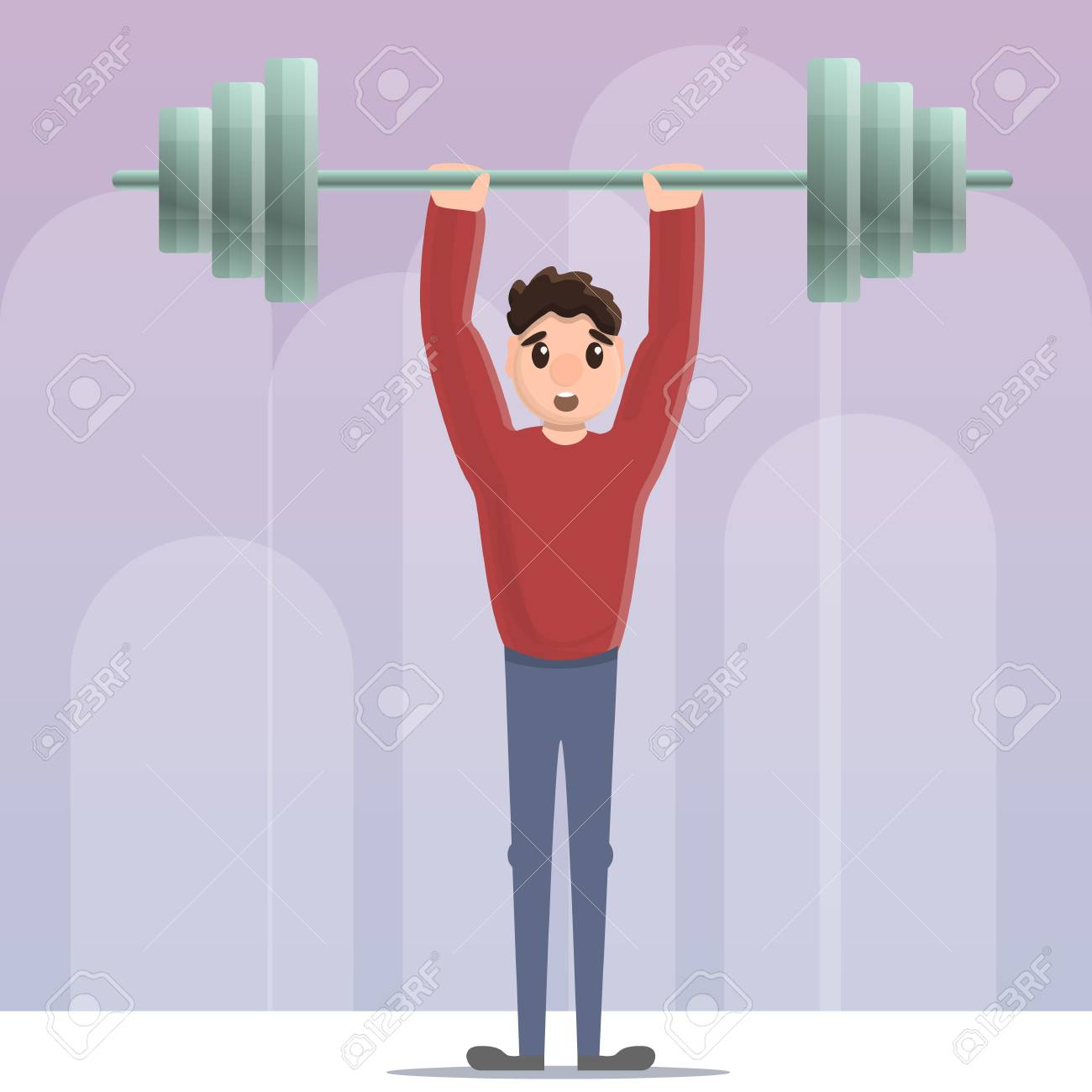 Sportsman Dumbbell Up Concept Background Cartoon Illustration 1300x1300