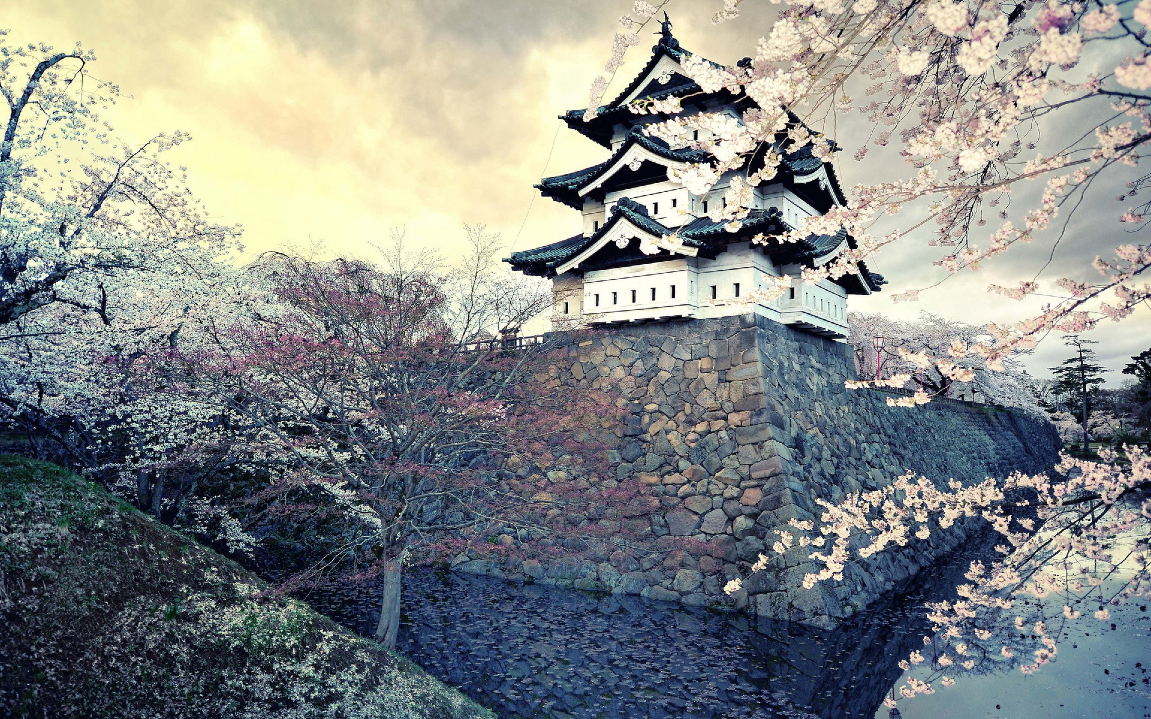 Download Wallpaper 3840x2400 City Sakura Japan Spring Ultra HD 4K 3840x2400
