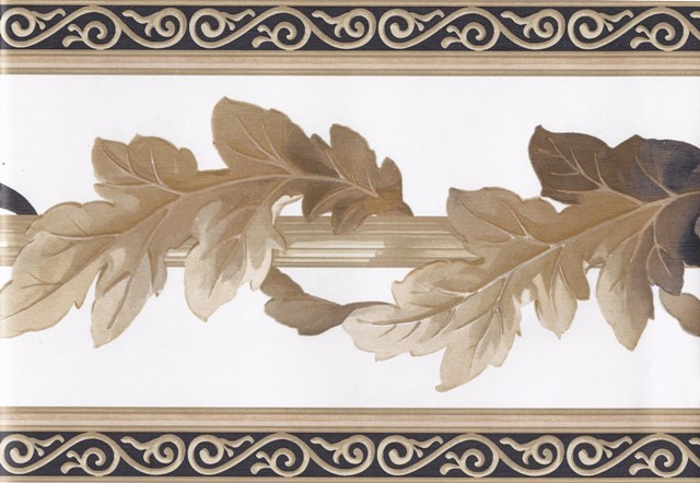 White Black Gold Leaf Column Molding Wallpaper Border   Victorian 640x442