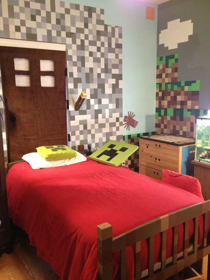 Minecraft Bedroom Ideas For Boys Minecraft bedroom 736x981