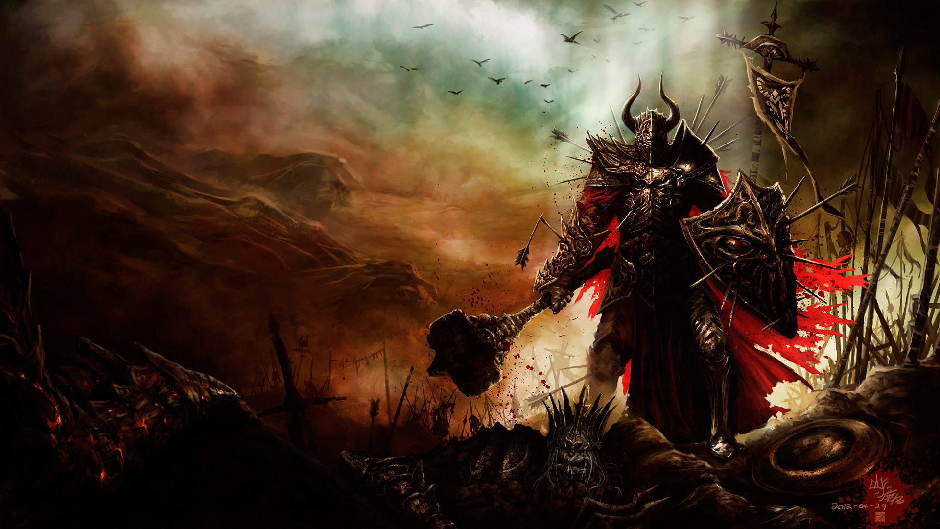 Descargar Dibujo Diablo III HD videojuegos rojo oscuro marron fantasia 1920x1080