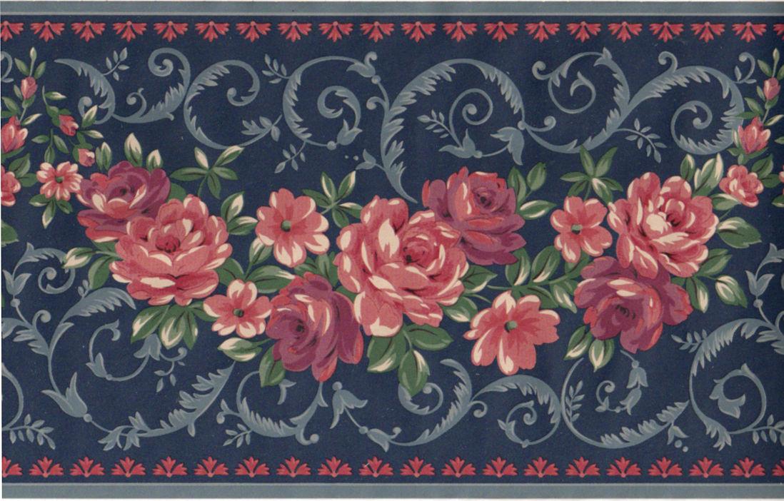 Rose Flower Floral Scroll Leaf Navy Blue Burgundy Wall paper Border 1098x702