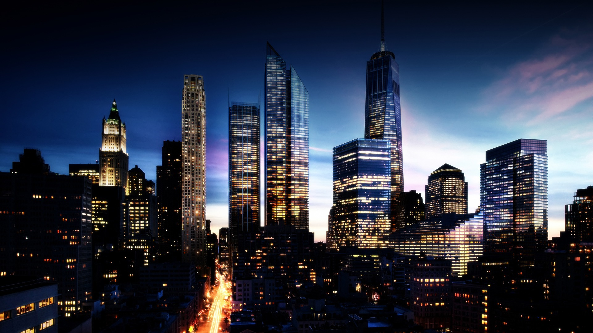 High Resolution New York Skyline at Night Wallpaper HD 1 City 1920x1080