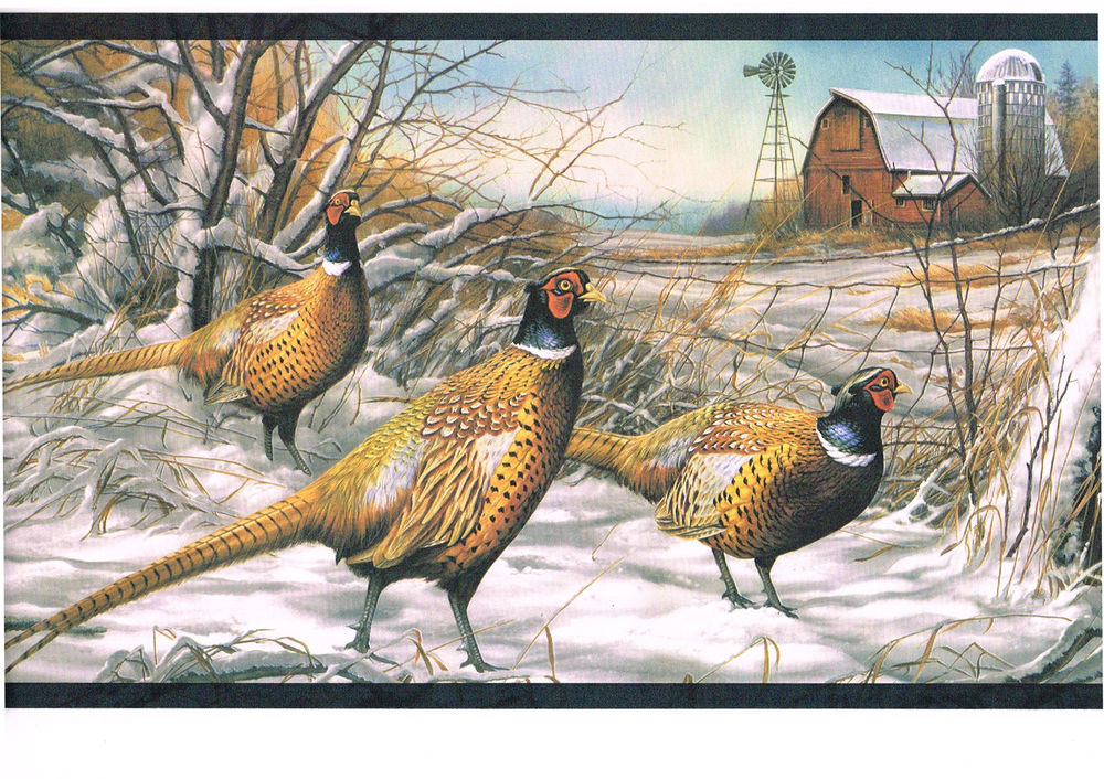 Bird Turkey Snow Wildlife Lodge Country Cabin Wallpaper Border eBay 1000x706