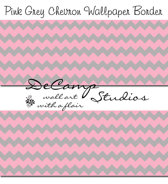 PINK GREY CHEVRON Wallpaper Border Wall Decals Baby Girl Nursery 570x623