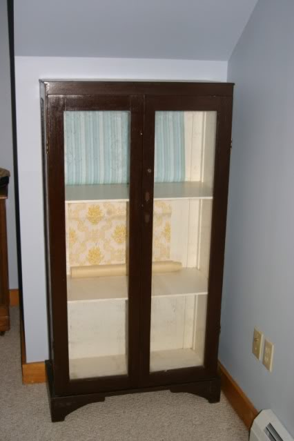 Yardsale Bookcase   suggestions on wallpapering the back needed 426x639