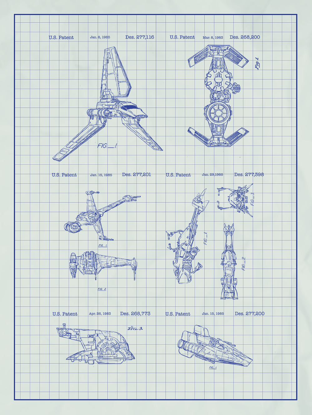 Star Wars Vehicles and Space Ships Screen Printed Patent Poster 1000x1329