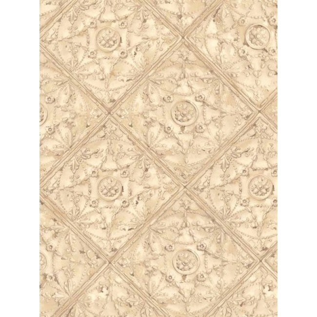 Home Beige Detailed Faux Ceiling Tile Wallpaper 650x650