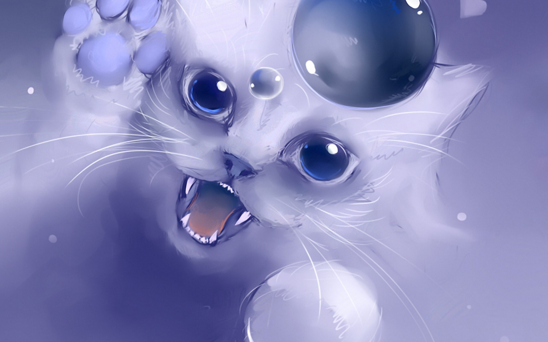 artwork manga anime wallpaper kitty cat bubble drawing art 1920x1200