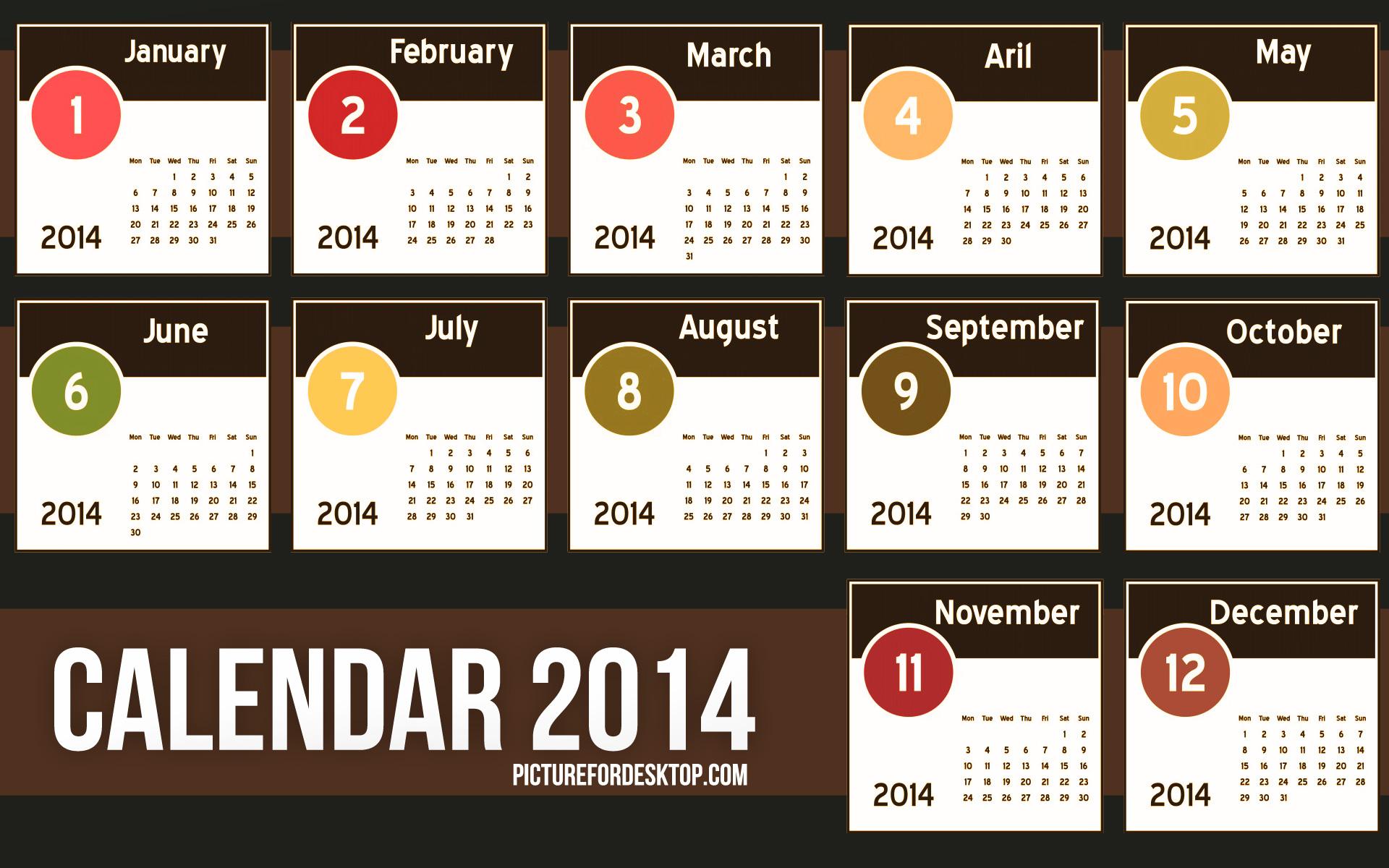 2014 Desktop Calendar Download HD Wallpapers 1920x1200
