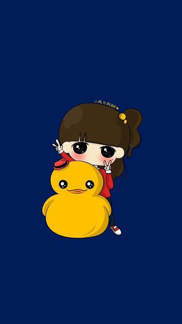 Cute girl with small yellow duck iPhone 5s Wallpaper Download iPhone 640x1136