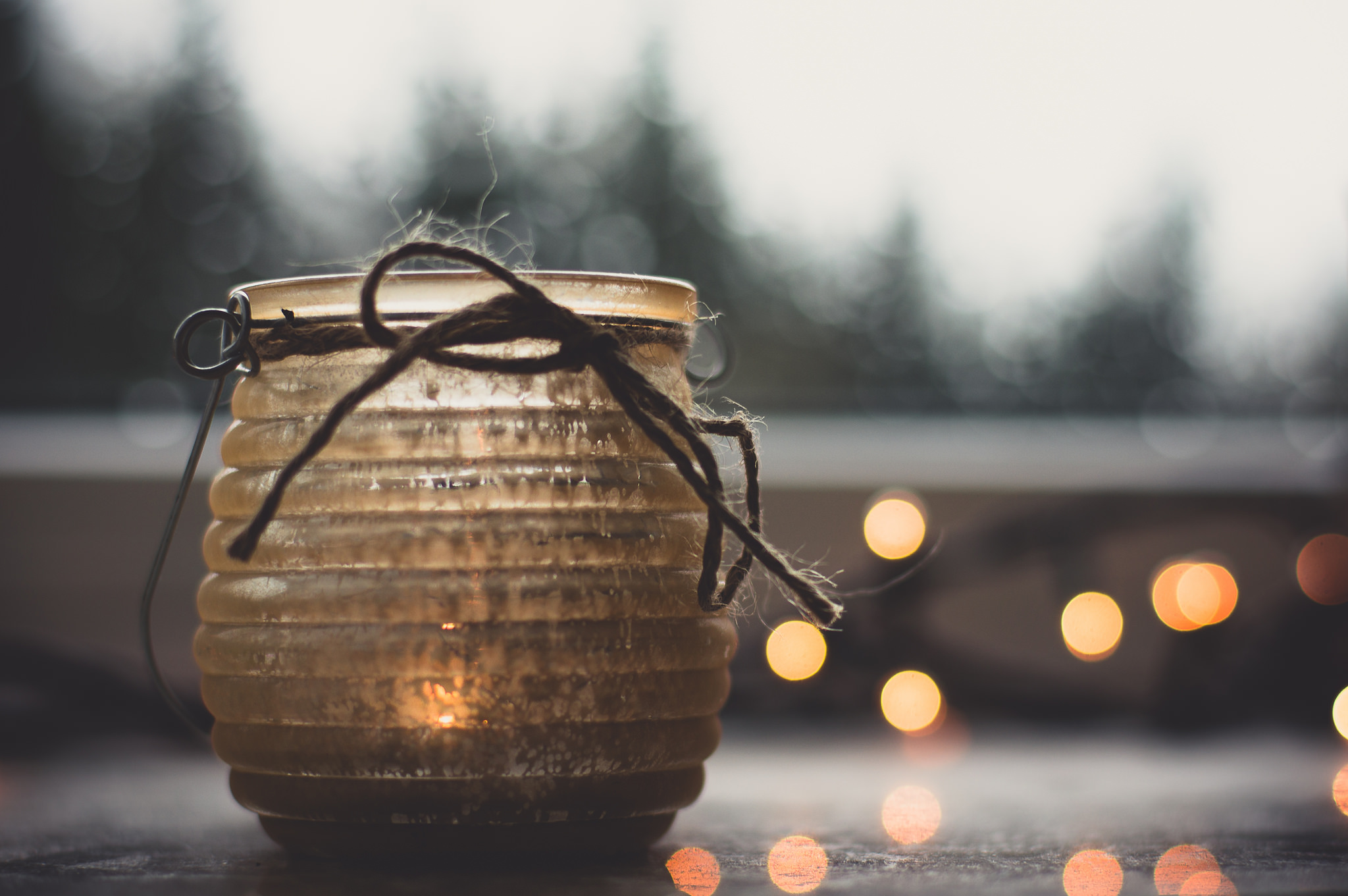 Winter moments wallpaper winter candle jar bokeh lights cozy warm 2048x1361