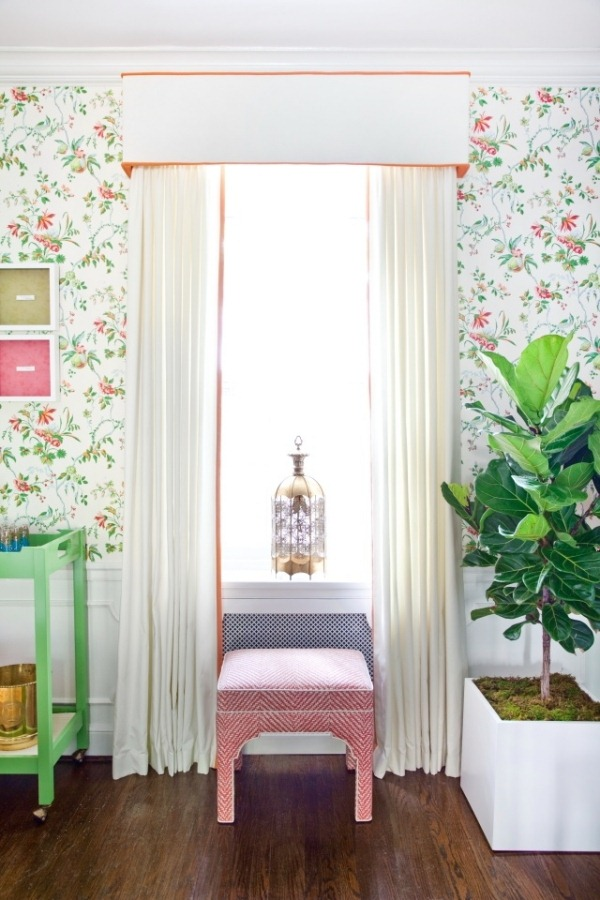 Cloth curtains easy to install curtain rod wallpaper vintage pattern 600x900