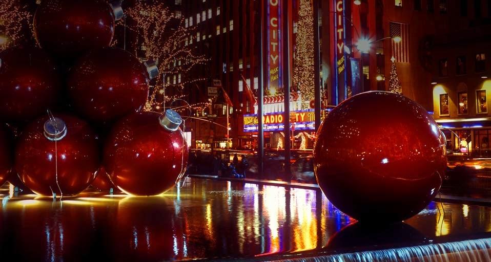Christmas Lights outside of Radio City Manhattan New York City 958x512