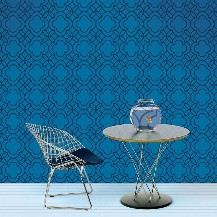 Quatrefoil BlueBlack Removable Wallpaper Half Kit   WallCandy Arts 736x736