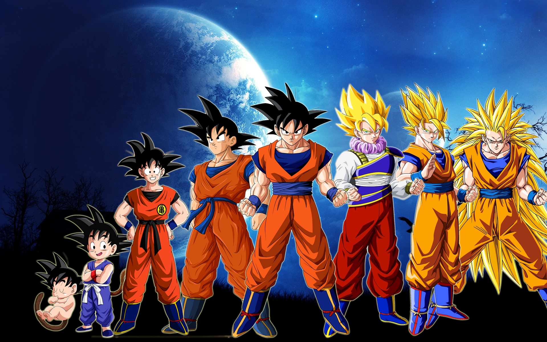 Dragonball Z Goku Evolution HD Wallpaper of Anime 1920x1200