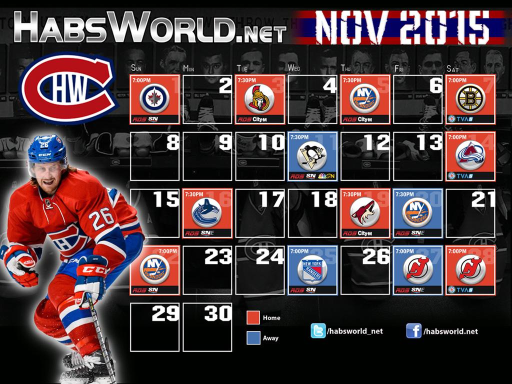 November 2015 Desktop Wallpaper Calendar | HabsWorld.net