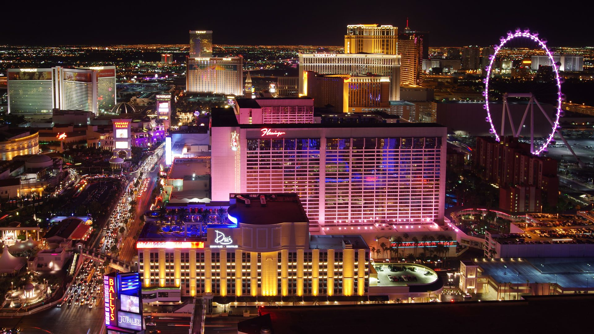 Las Vegas Strip Flamingo Wheel HD Wallpaper 1920x1080 ID47944 1920x1080