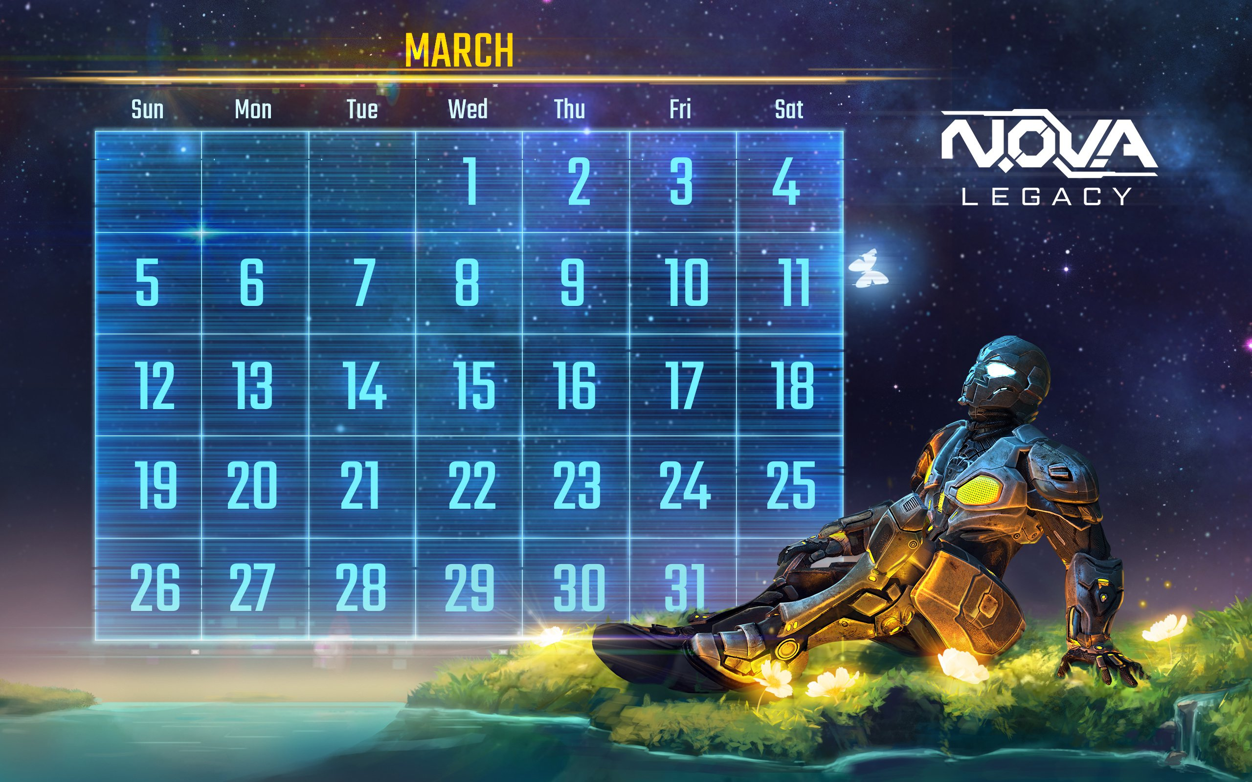 Download NOVA Legacy calendar and wallpaper March   Gameloft 2560x1600