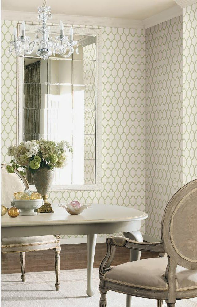 Green and White Moroccan Trellis Wallpaper from Casabella Collection 642x1000