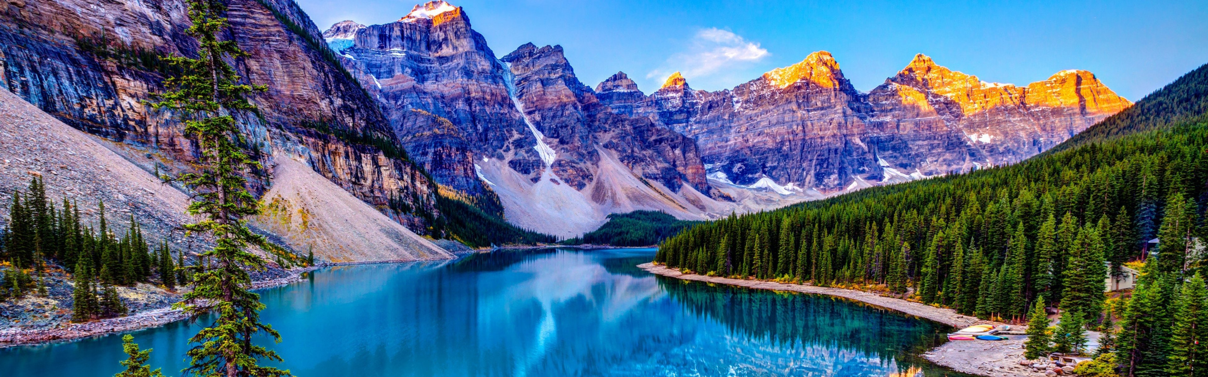 3840x1200 Wallpaper nature mountains sky lake clouds 3840x1200