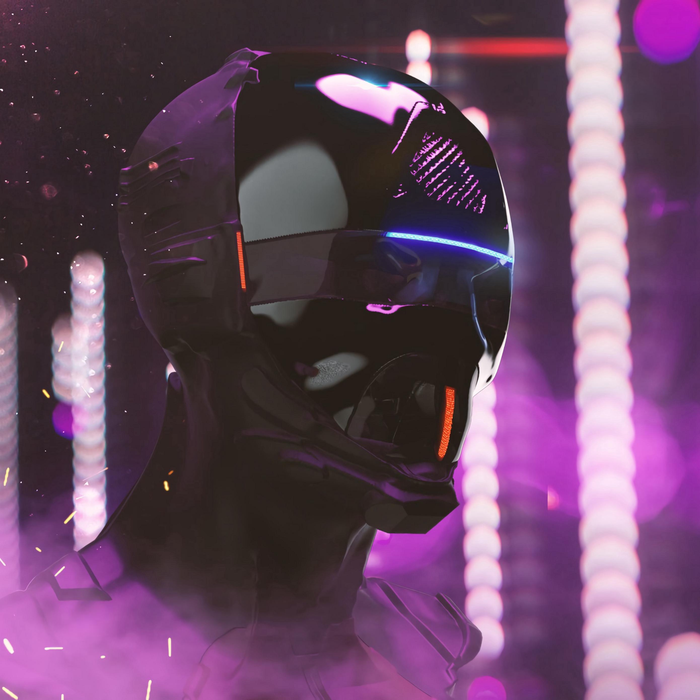 Download wallpaper 2780x2780 mask helmet cyberpunk robot neon 2780x2780