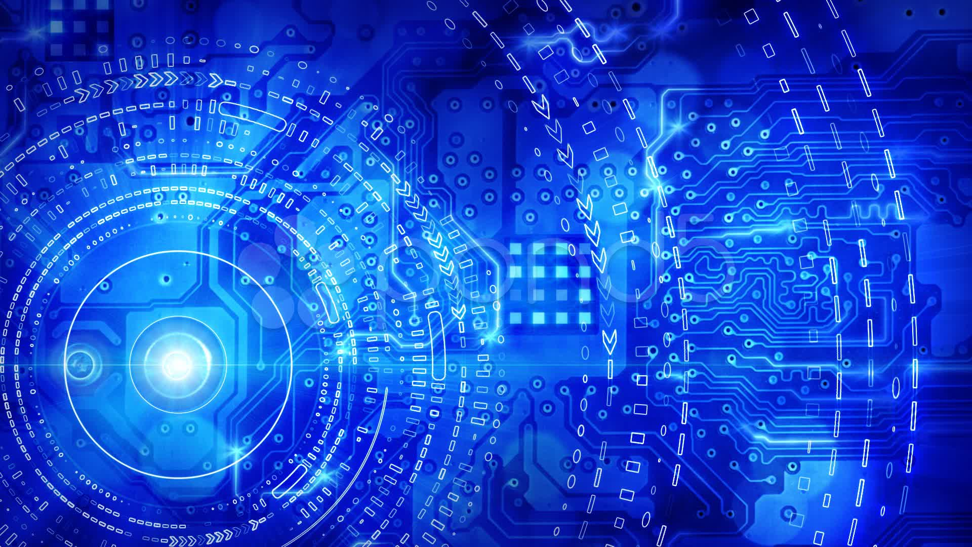 Blue Computer Circuit Board Background Loop Stock Video 10686486 HD 1920x1080