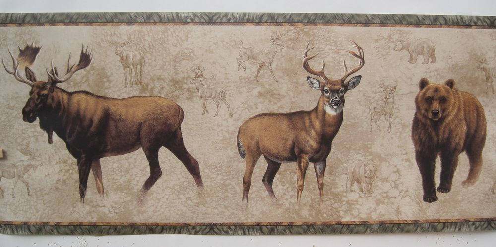 Moose Deer Bear Hunting Wallpaper Border 10 1 4 eBay 1000x499