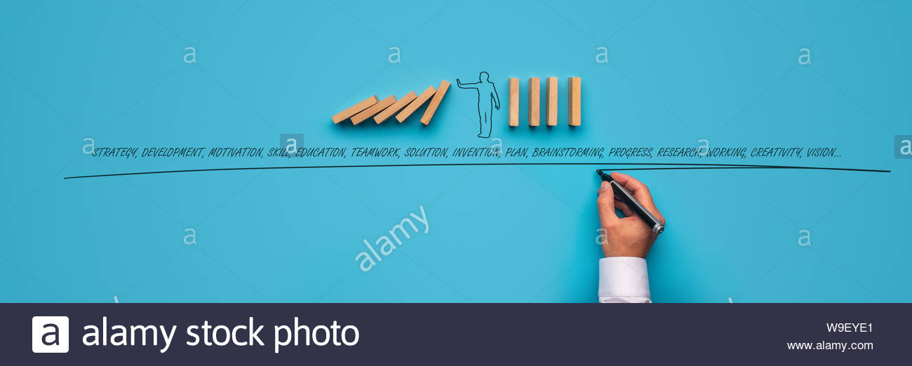 Businessman stopping falling dominos over blue background and male 1300x523