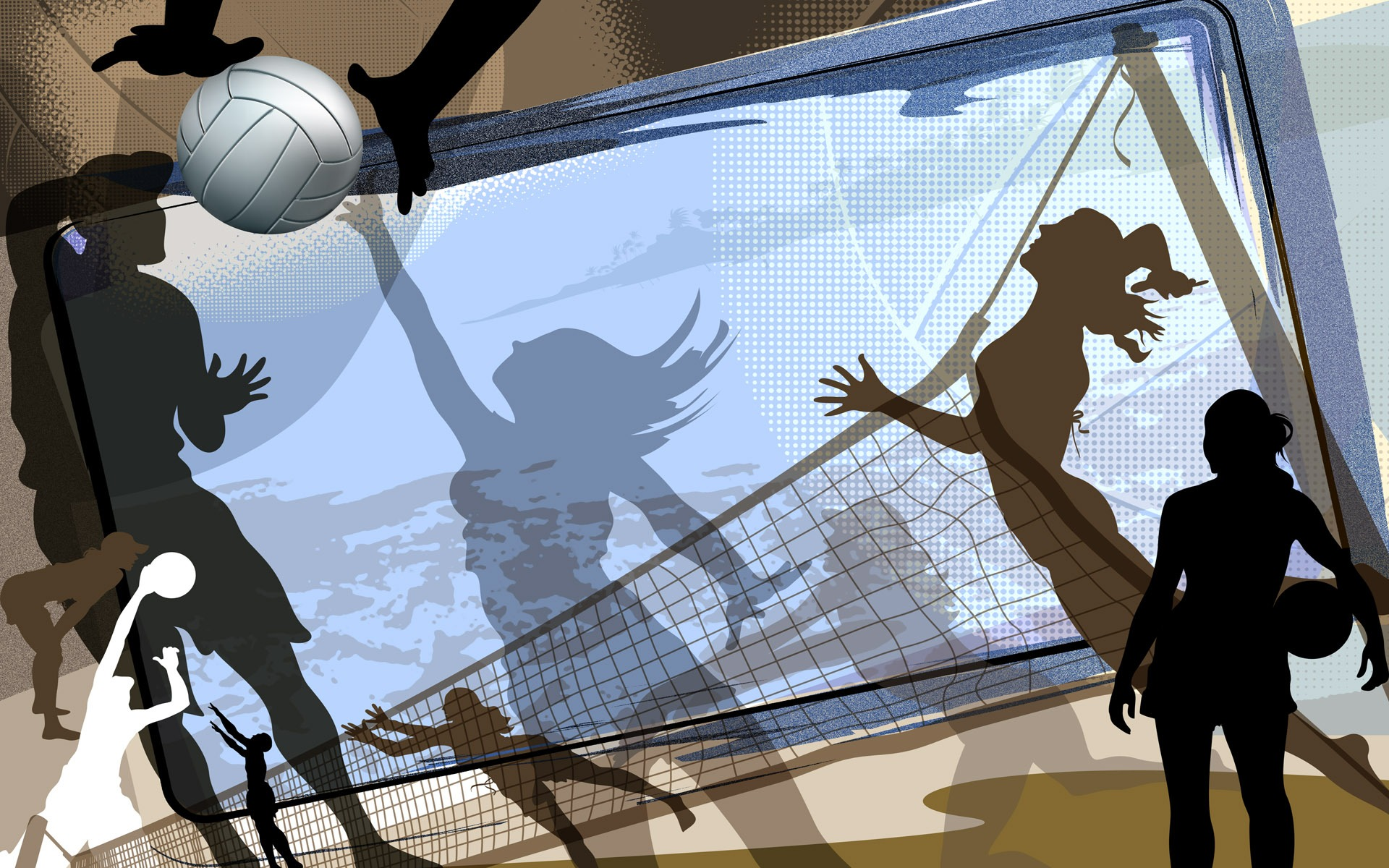 Abstract Design Of A Beach Volleyball Player Vector Image: Free Volleyball Wallpapers And Backgrounds