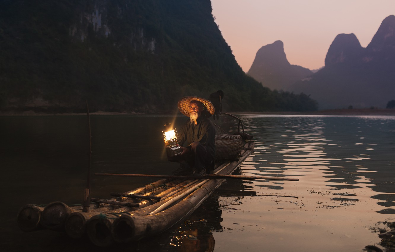 Wallpaper light mountains reflection river lamp fisherman 1332x850