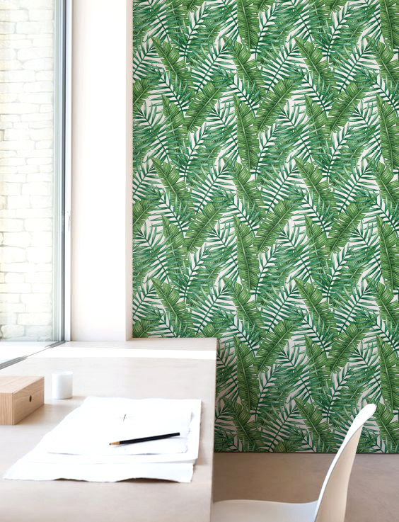Palm leaf Wallpaper Self adhesive Wallpaper Banana leaves 564x737