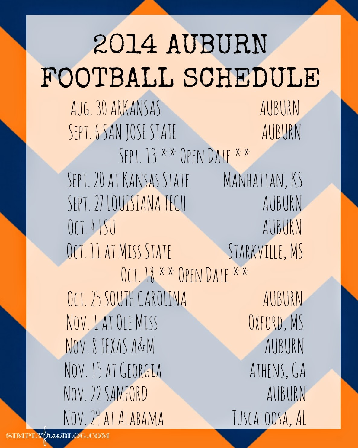 Find New 2014 Auburn Football Schedule Reviews and Model on 1186x1483
