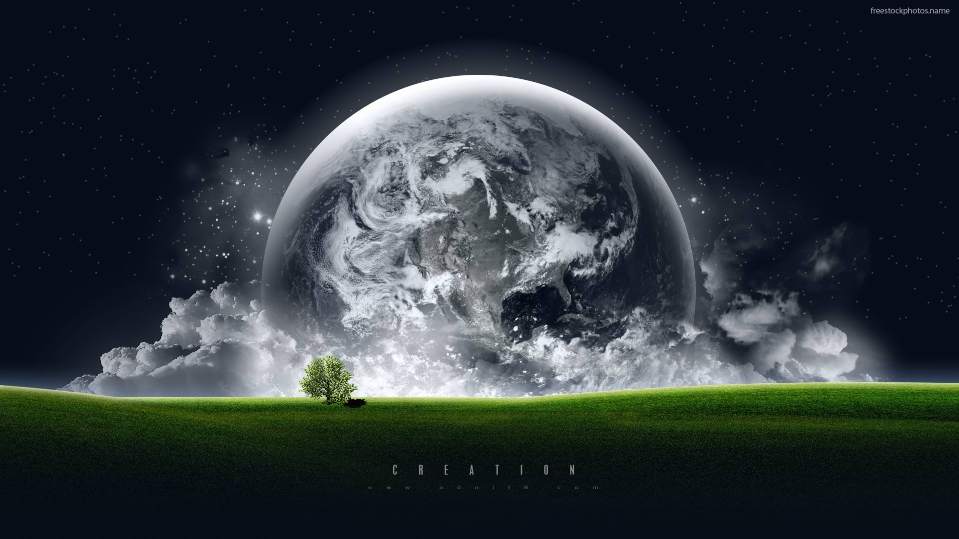 Download Stock Photos of planet earth green field creation hd images 1920x1080