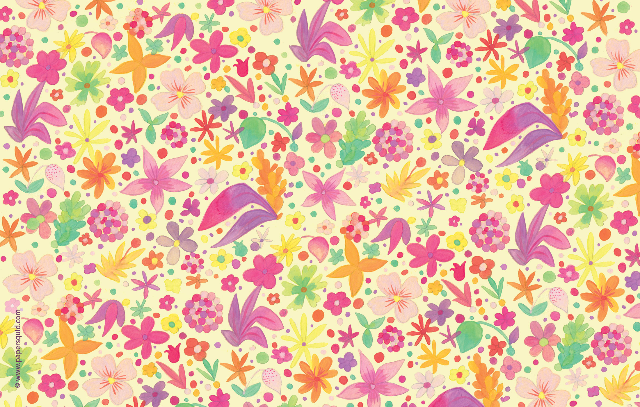 Paper Squid Junes Golden Floral Desktop Wallpaper 2200x1400