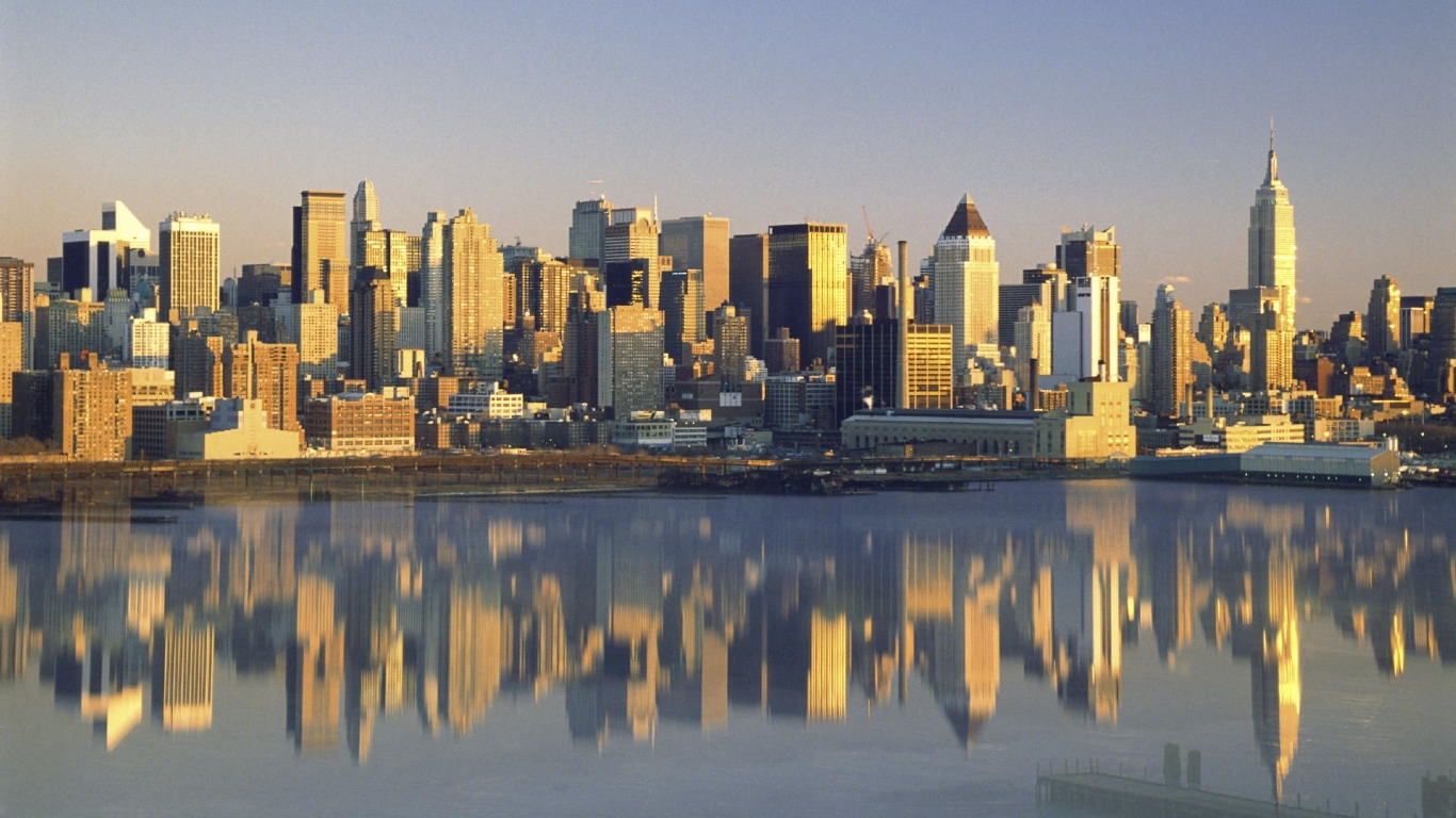 Buildings City New York City Reflected New York picture nr 34202 1366x768