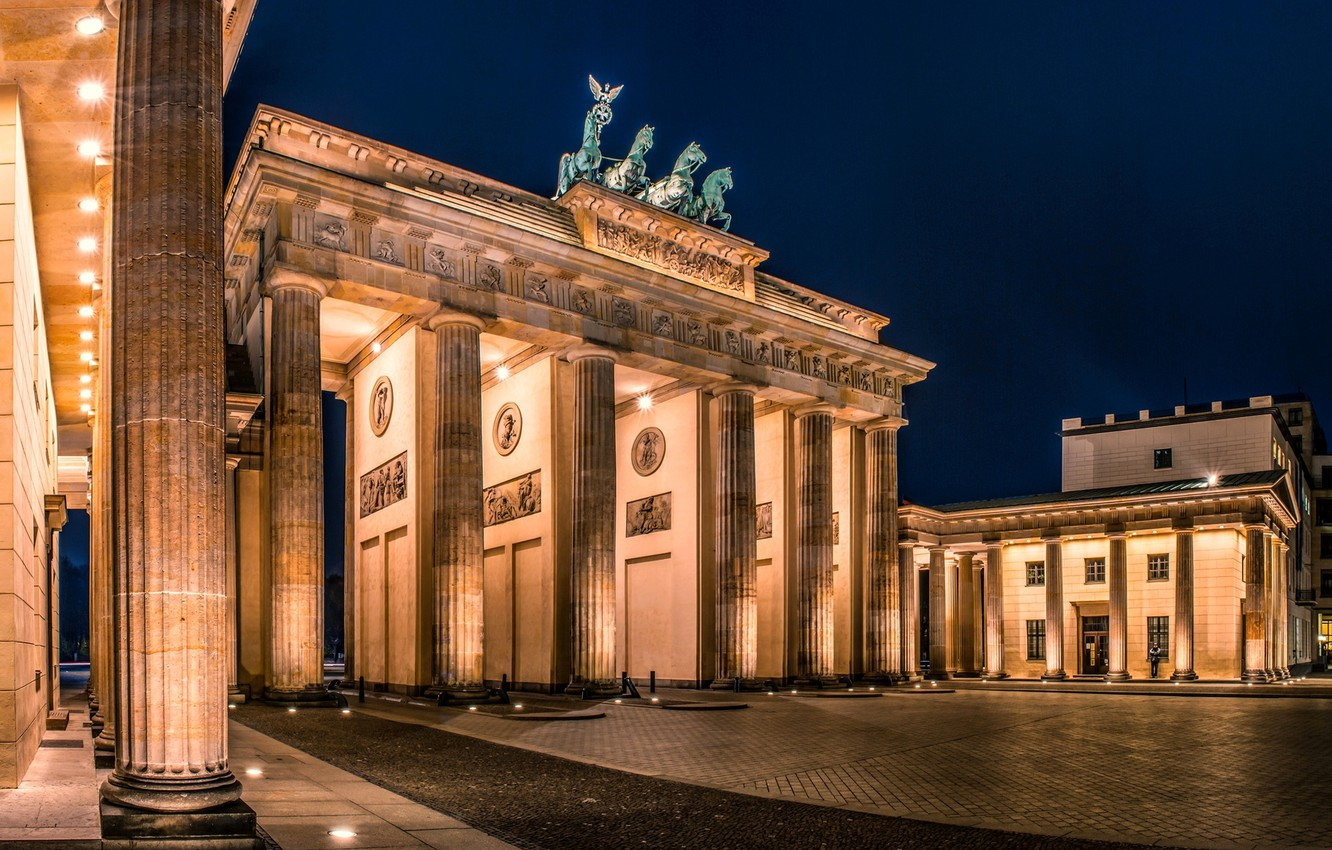 Wallpaper night the city Germany lighting area architecture 1332x850
